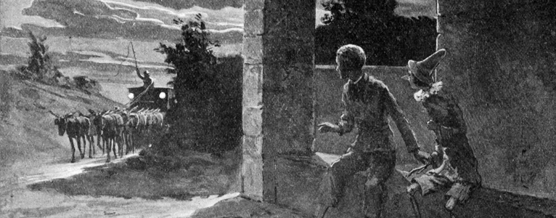 """Illustrazione tratta dal libro """"Le avventure di Pinocchio, storia di un burattino"""" nell'edizione del 1902"""